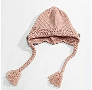 Baby Decoration Hat Girls Flower and Braid Style Keep Warm Knitting Hat Earmuffs Sleeve Cap(Beige) Cute Cap (Color : Pink, Size : 48-54cm)