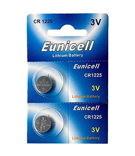 Eunicell 2 x CR1225 3V Lithium Knopfzelle 48 mAh (1 Blistercard a 2 Batterien) EINWEG Markenware