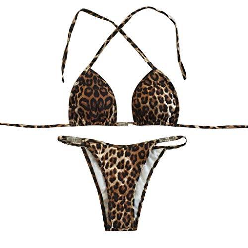 iLUGU Women Bikini Set Fashion Push-Up Padded Bra Beachwear Leopard Print Swimsuit Swimwear Bathing Suit