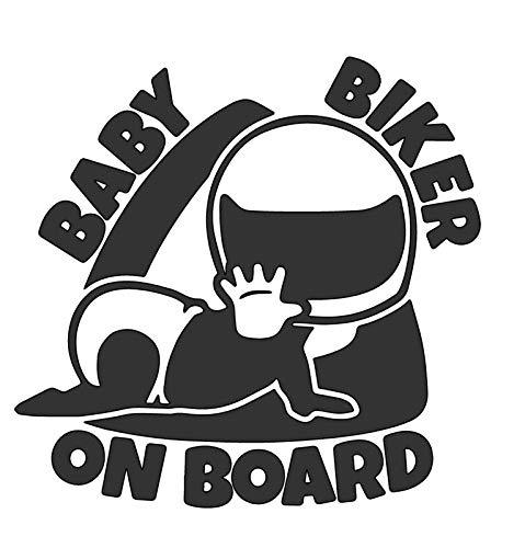 Baby Biker On Board - Die Cut Vinyl Decal - 5.5' W X 5.3' H Matte Black HGC1922.09