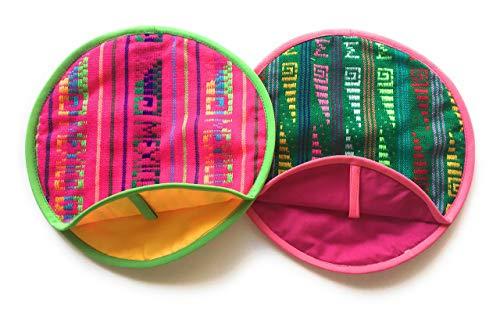 Pack de 2real Mexican Tortilla Warmer 9'-Insulated, microondas algodón...