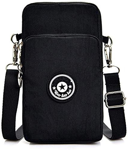 Handy-Umhängetasche Universelle Handy-Umhängetasche, Kartentasche, Brieftasche, Brieftasche, kleine Tasche, Mini-Umhängetasche, Damentasche, Lose Umhängetasche für Damen Schwarz