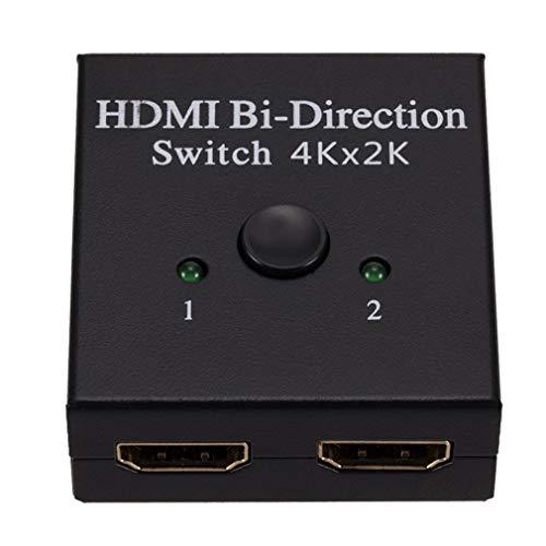 HehiFRlark - Conmutador de cable HDMI 2.0 bidireccional, 4 K divisor Hub HDCP 2 en 1, salida 1 en 2 salidas separadoras de doble cara