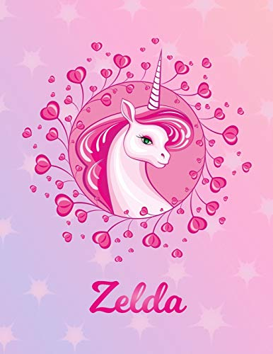 Zelda: Unicorn Sheet Music Note Manuscript Notebook Paper | Magical Horse Personalized Letter Z Initial Custom First Name Cover | Musician Composer ... Notepad Notation Guide | Compose Write Songs