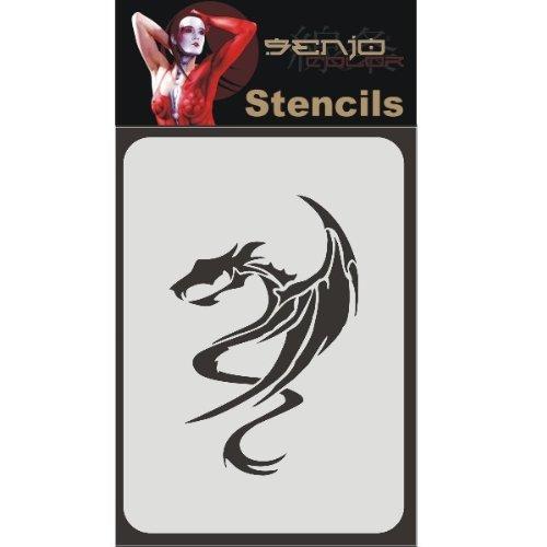 Senjo Color Bodyart Schablone A6 - Drache 01 Henna Tattoo Schablonen wiederverwendbar lösungsmittelfest