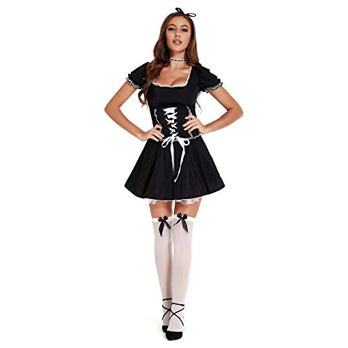 WANLOVE Mujeres Encaje Francs Maid Lingeire Sexy Maid Outfit Cosplay Disfraz-Negro_S