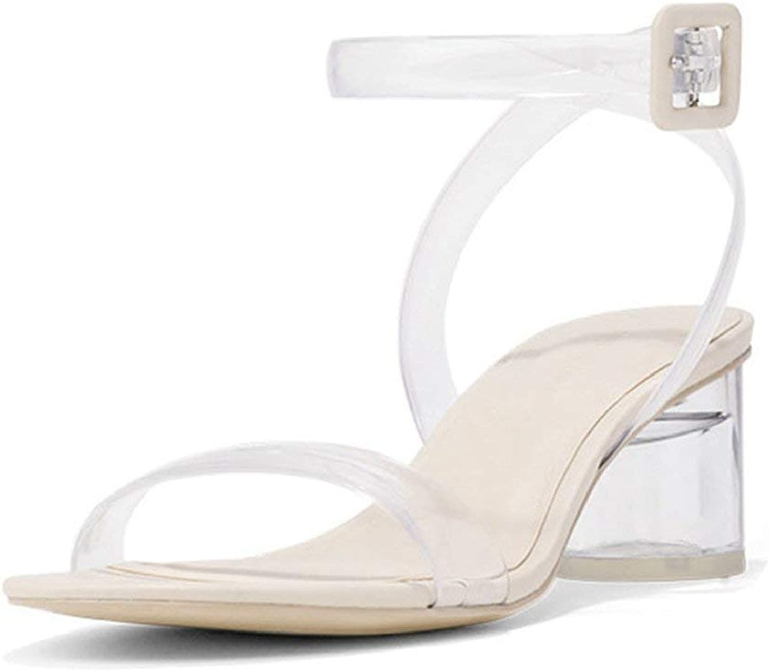 Beautiful - Fashion Womens Clear Strappy Block Heel Ankle Strap Adjustable Buckle Peep Toe Low Chunky Sandal