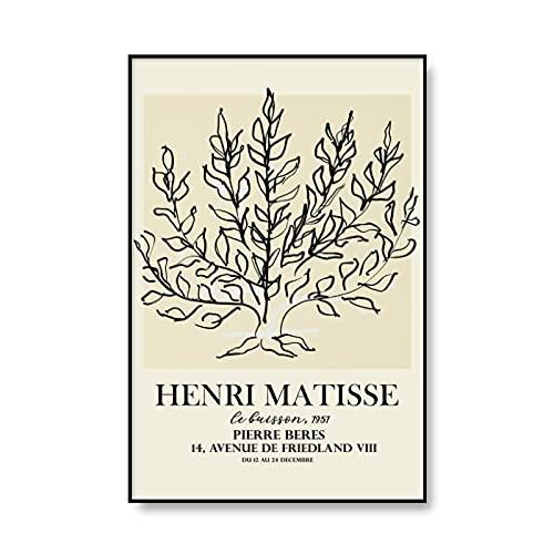 Carteles e impresiones vintage de Matisse cortados en papel, decoración de exposición de arte de pared de una sola línea, pintura en lienzo sin marco A6 30x40cm