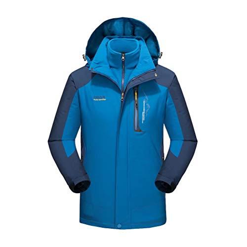 Jacke 3 in 1 Herren Kratzfest Wasserdicht Winddicht Funktionsjacke mit Kapuze Damen Warmer Doppeljacke Blau S