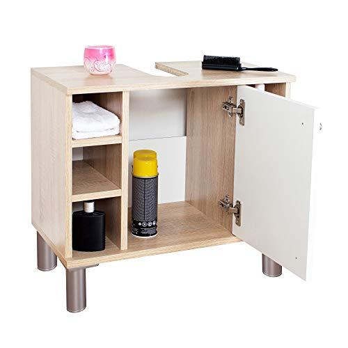 RICOO WM100-ES-W Waschbecken Unterschrank Badezimmer Waschtisch Klein Holz Eiche Sonoma Türe Weiß Badschrank für Bad Gäste WC ohne Becken
