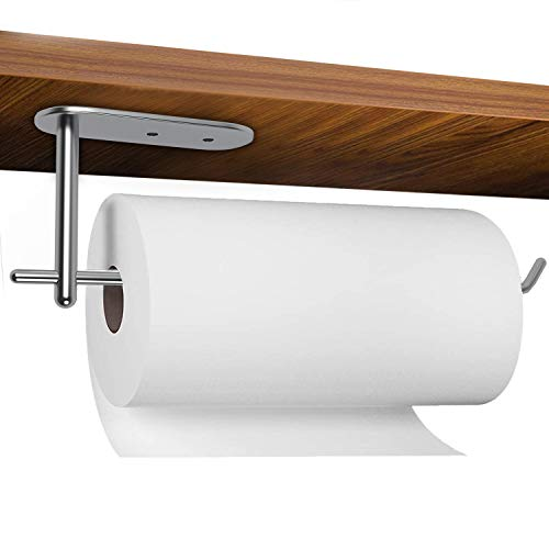 Paper Towel Holder Under Cabinet,Stainless Steel Paper Towels Bulk Rack,Wall Mounted for Kitchen and Bathroom,Available in Adhesive & Screw