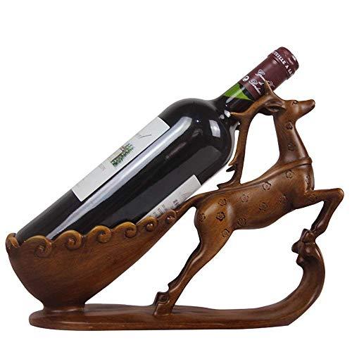 YUQIYU Estante del vino creativo decoración Resina Cuerno Crafts estante del vino Sala de escritorio Decoración Pórtico Adornos Vino Europea Estante elegante y hermosa