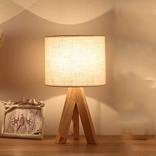 Tischlampe Schlafzimmer Esstisch Holz LED Nachttischlampe E27 Modern Einfachheit Stoff Nachtlicht Retro Schreibtischlampe Tischleuchte für Kommode Wohnzimmer Esszimmer Geschenk