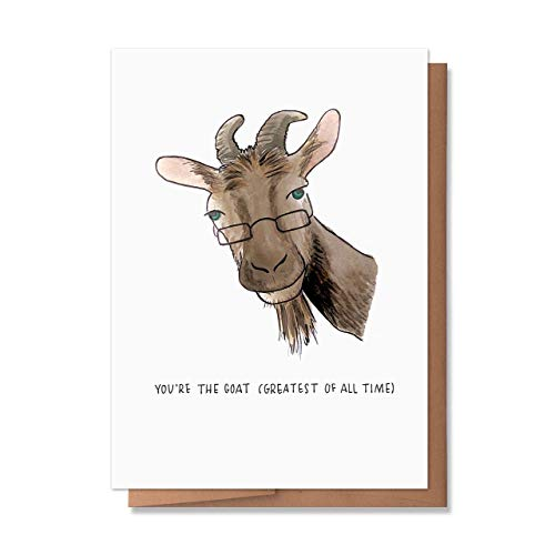 Wunderkid Funny You're the Goat Card, Greatest of All Time Graduation Father's Day (1 Single Card, Blank inside)