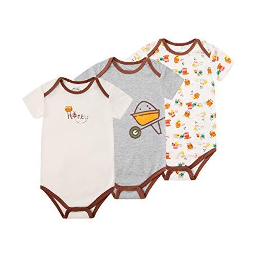 FROERLEY Kurzarm Baby Bodys 3er Pack, Lustige Baby Bodysuits Strampler für Jungen Mädchen, für 0-24 Monaten