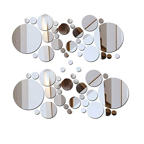 Surpaku 2 Sets DIY Mirror Wall Sticker Acrylic Round Mirror DIY Wall Sticker Removable Decal Acylic Crystal Vinyl Mirror Surface Art Wall Decoration for Bedroom Living Room Home Decor