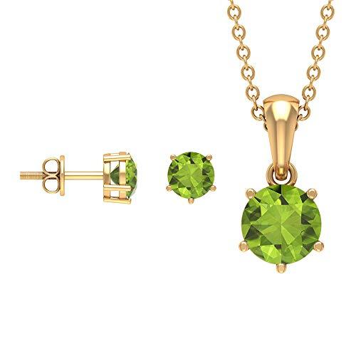 Rosec Jewels 18 quilates oro amarillo redonda Green Peridoto/Olivino