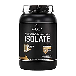 Sascha Fitness Hydrolyzed Whey Protein Isolate,100% Grass-Fed (2 Pounds, All ) (Caramel)