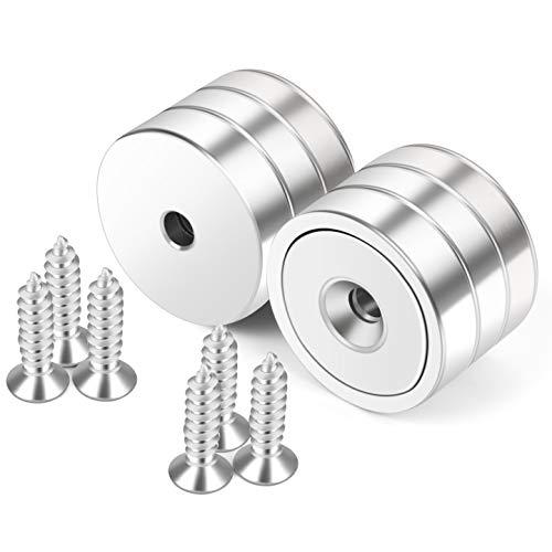 Neosmuk Magnete mit Loch,50kg starke runde Magnete für die Wand,Magnet mit Schraube für Holz,Neodym-Scheibenmagnet mit Loch in der Mitte,32mm flacher Magnet