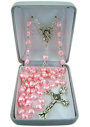 Catholic Pink Heart Shaped Prayer Bead Rosary Necklace, 24 Inch