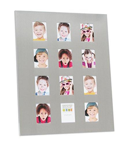 Deknudt Frames S67AE3-P12-3.5X4.5 Bilderrahmen, für 12 Fotos, 26,5 x 21,3 x 2 cm, silberfarben