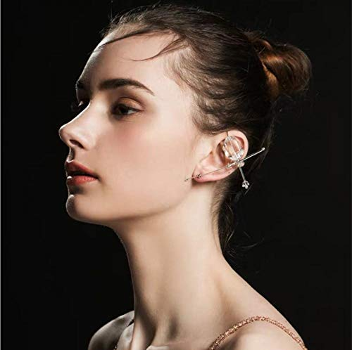 Pendientes de oreja de hueso de elfo de cristal, pendientes de gancho de oruga, puños de oreja, joyería de trepador, pendientes de clip de palabra de una sola pieza, pendientes de cruz de color blanco