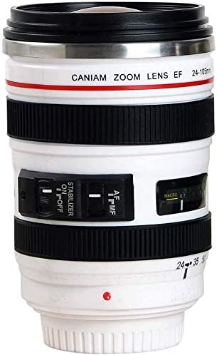 Camera Lens Coffee Mug Cup Food Grade Stainless Steel Travel Thermos with Transparent Lip Leak product image
