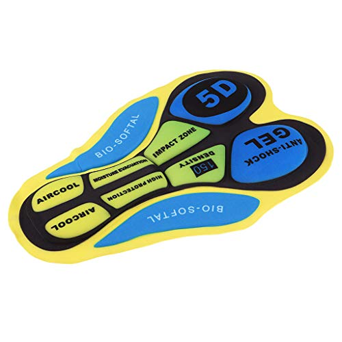 F Fityle Ciclismo Intimo da Gel 3D imbottito Accessori per Pantaloni da Bicicletta - 20D Amarillo Azul, tal como se describe