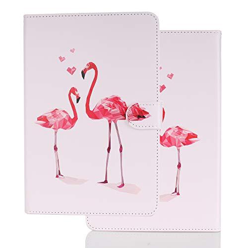 Hülle für PC Tablette Universal 10 Zoll (9.5-10.5 Zoll) - Tasche Leder Flip Hülle Etui Schutzhülle Cover für 9.6 9.7 10.1 10.2 10.4 10.5 Tablet, Flamingo