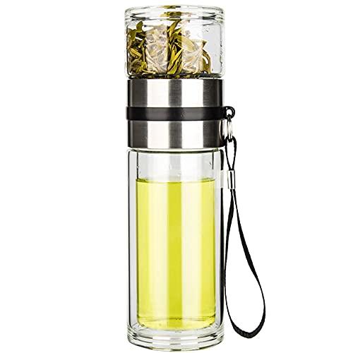 PARACITY Glass Tea Infuser Bottle Tea Flood Cup Double Wall Borosilicate Portable Travel Tumbler Mug Leakproof for Loose Leaf Flower Herbal Tea Bags 13 OZ/380ML