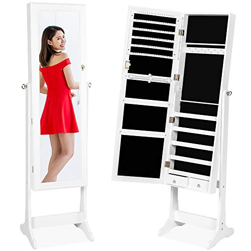 Best Choice Products Standing Mirror Armoire, Lockable Jewelry Storage Organizer Cabinet w/Velvet Interior, 3 Angle Adjustments - White