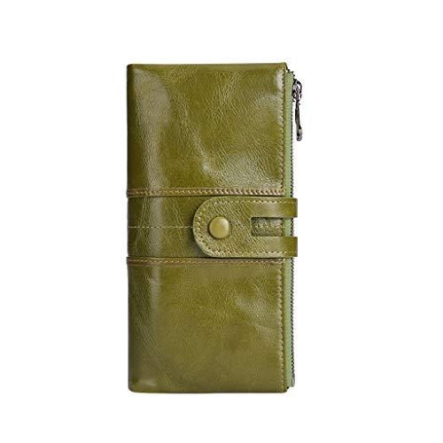 MELYKA La moda vertical de cuero de la cartera de las mujeres multifunción del teléfono móvil bolso largo de cuero Hasp Monedero de la cremallera de gran capacidad de embrague
