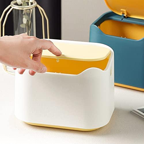 WANZPITS Caja de Almacenamiento de plástico Simple de Escritorio, Caja de Basura, Caja de Almacenamiento Linda Creativa de Gran Capacidad, Mini Mini Cocina de Mesa de Mesa de Mesa,Blanco