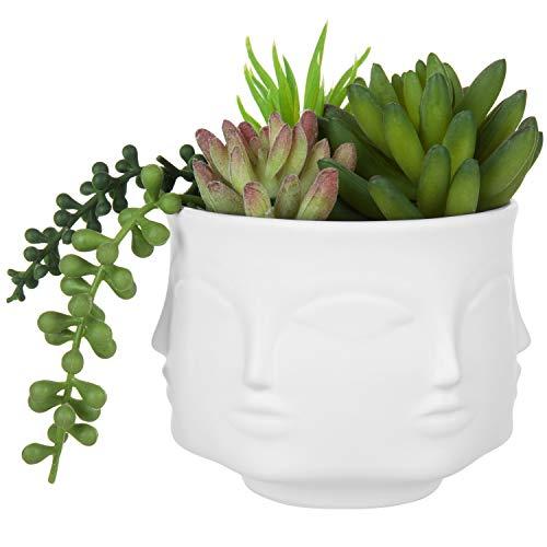 MyGift 4-Inch White Ceramic Guanyin Multi-Face Succulent Planter Vase