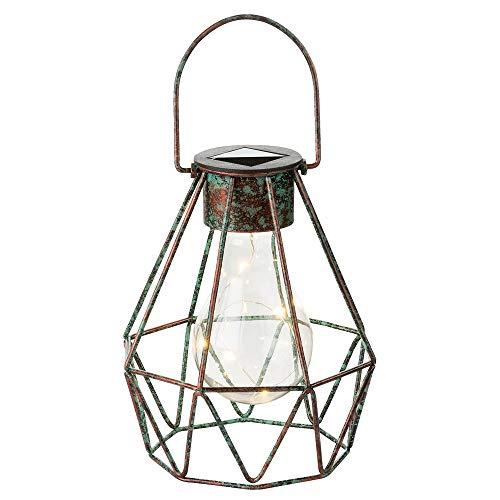 Lámpara solar LED de color bronce, farol de rejilla para colgar, 5 LED de 0,06 W, incluye