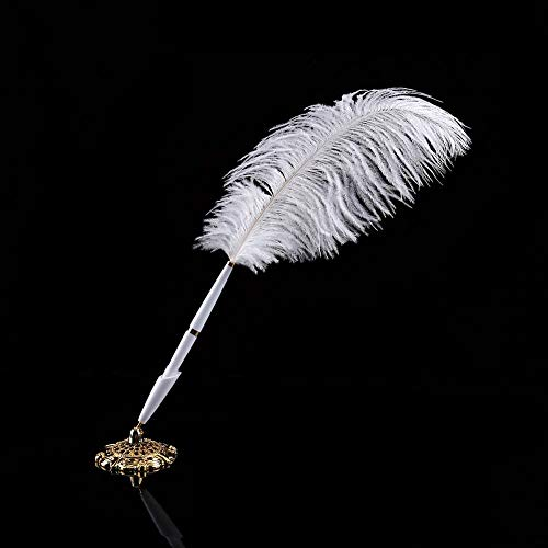 2 colores Pluma de avestruz Pluma de boda Firma de bolígrafo Bolígrafo...