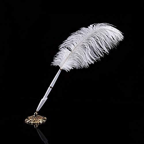 2 colores Pluma de avestruz Pluma de boda Firma de bolígrafo Bolígrafo de escritura Bolígrafo de libro de invitados con soporte de metal Nuevo para ceremonia de boda 12,3 cm(Oro)