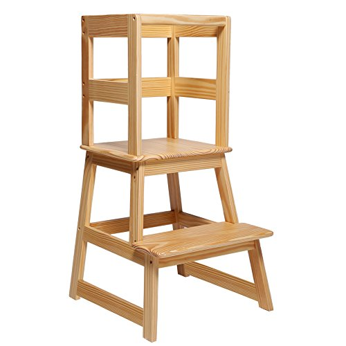 SDADI Kids Kitchen Step Stool with Safety Rail  for Toddlers 18 Months and Older Natural LT01N