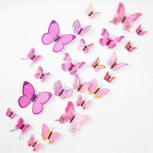 Muursticker 24 stks 3D Plastic PVC Vlinder Muursticker Huisdecoratie Verwijderbaar met Lijm Magneet Bruiloft Party Spiegel Koelkast Decoratie Roze