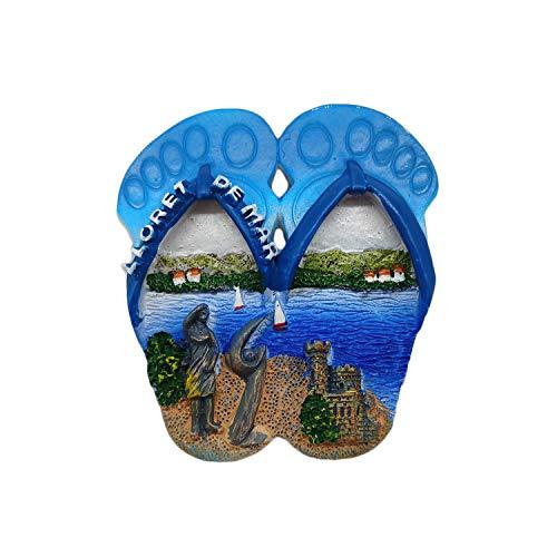 Wedare Magnet Souvenir Lloret de Mar Spanien 3D Flip Flop Kühlschrankmagnet Harz Reise Souvenirs, handgemachte Haus & Küche Dekoration Spanien Kühlschrankmagnet Sammlung Geschenk