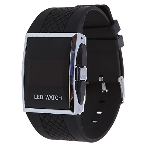 HLPIGF Reloj Deportivo Digital LED Rojo LED para Hombre - Negro