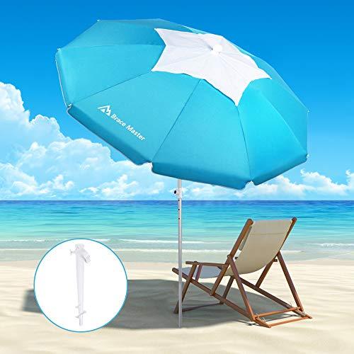 Brace Master Sombrilla de playa con ancla de arena, diseño UV 50+ con barra de aluminio inclinable con bolsa de transporte para patio al aire libre (Kirksit, azul)