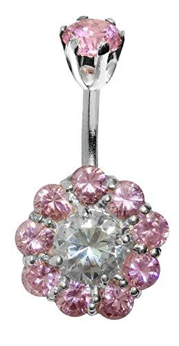 Sunshine Crystal piercing per ombelico in acciaio chirurgico 10mm–usiamo i migliori cristalli cz tagliato a laser, vedere i colori al di sotto, colore: Saphir rose, cod. BELNAV022-PK-10mm