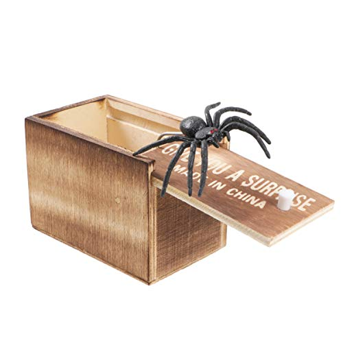 STOBOK Spinnenstreich Schrecken Box aus Holz Überraschungsbox Scherzboxen Gag Scherzspielzeug für Partygeschenke (mit Buchstaben 1 Spinne in 1 Box)