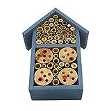 WANGQ Hôtel À Insectes en Bois Naturel - Cabane Abri Taille 12 X 7.5 X 23 Cm - Maisonnette Refuge Abeille Coccinelle Papillon Et Autres Insectes Volants, (Bleu,Rose,Vert)