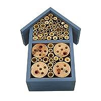wisedwell 昆虫の巣、木製の塗られた野生の昆虫巣屋外の庭のハニカム蜂ホテル外の避難所のガーデンの巣の巣昆虫ハビタットハウス helpful