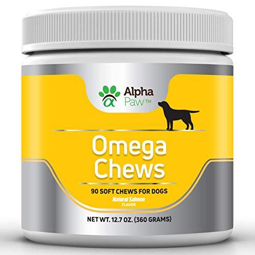 Alpha Paw Omega Chews 3 6 9 Vitamin Supplement – Omega 3 for Dogs – Dog Salmon Oil, DHA, Flaxseed, & Biotin – Dog Fish…