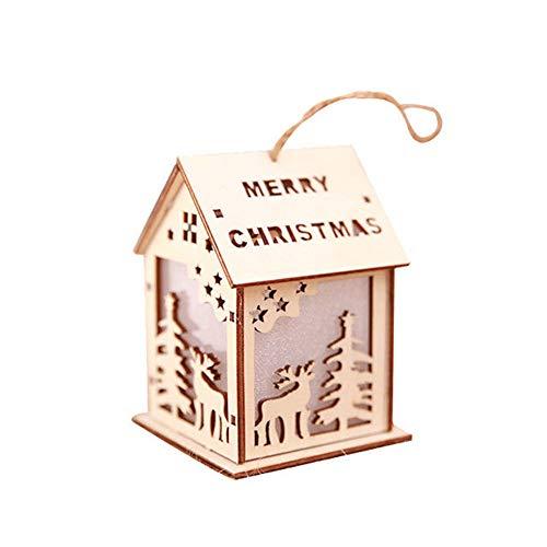 Homeofying Décoration de Noël à LED en forme de chalet avec Père Noël, cloche et renne, Bois dense, Elk#, Taille M