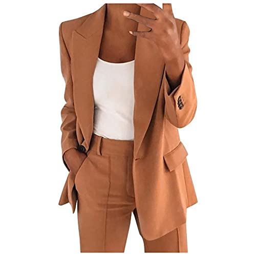 BOOMJIU Damen Langarm Blazer Elegant Anzug Jacke Trenchcoat Damenblazer Herbstjacke Frauen Einfarbig Lange Ärmel Mantel Übergangsjacke Slim Fit Geschäft Büro Lange Mantel Anzüge mit Tasche