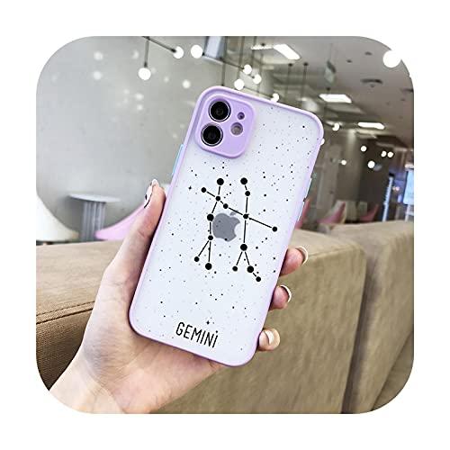 Funda de lujo para teléfono 12 constelaciones para iPhone 12 11 Pro Max 7 8 Plus XS Max X XR SE2 Colorido lente protección transparente mate cubierta -69PR-para iPhone XS Max